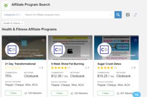 Affiliate program search tool